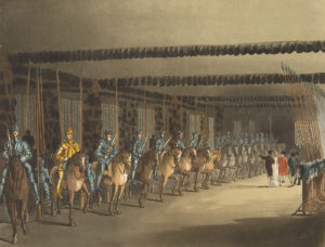 The Horse Armory in the Tower of London as seen in an 1809 print. (Metropolitan Museum of Art)