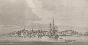 New York City as seen from the harbor in 1776. (New York Public Library)