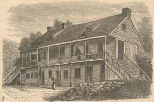 General Nathanael Greene's headquarters in November 1776, near Fort Lee, New Jersey. (New York Public Library)